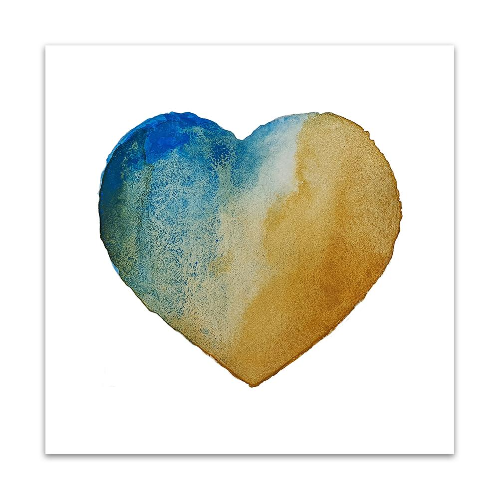 A watercolour print by Clarrie-Anne on eco fine art paper titled Beach Heart showing a textured turquoise golden sand coloured heart on a white background.