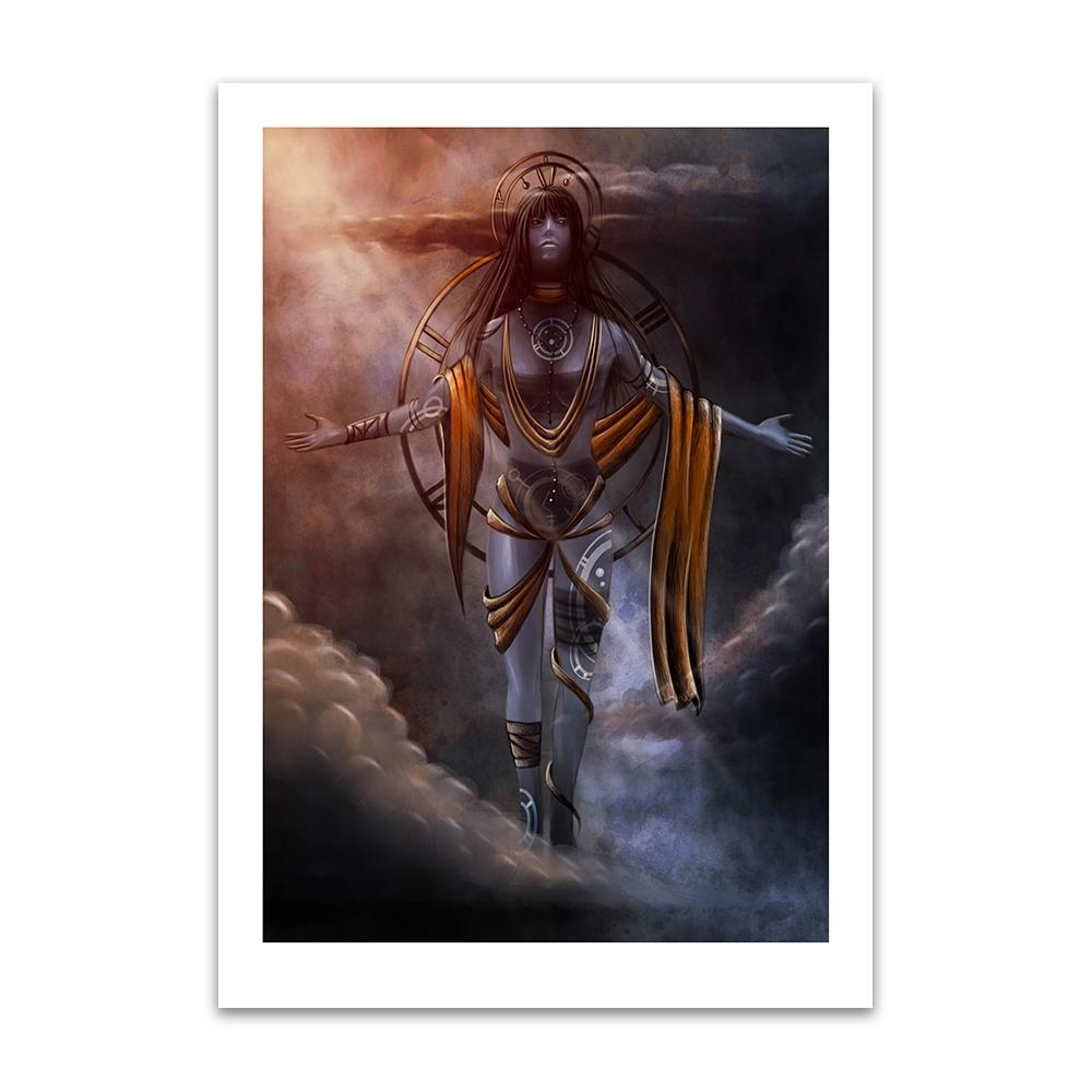 A digital painting by Lily Bourne printed on eco fine art paper titled Celestial shows a floating abstrate woman floating with symbols in a cross pose.
