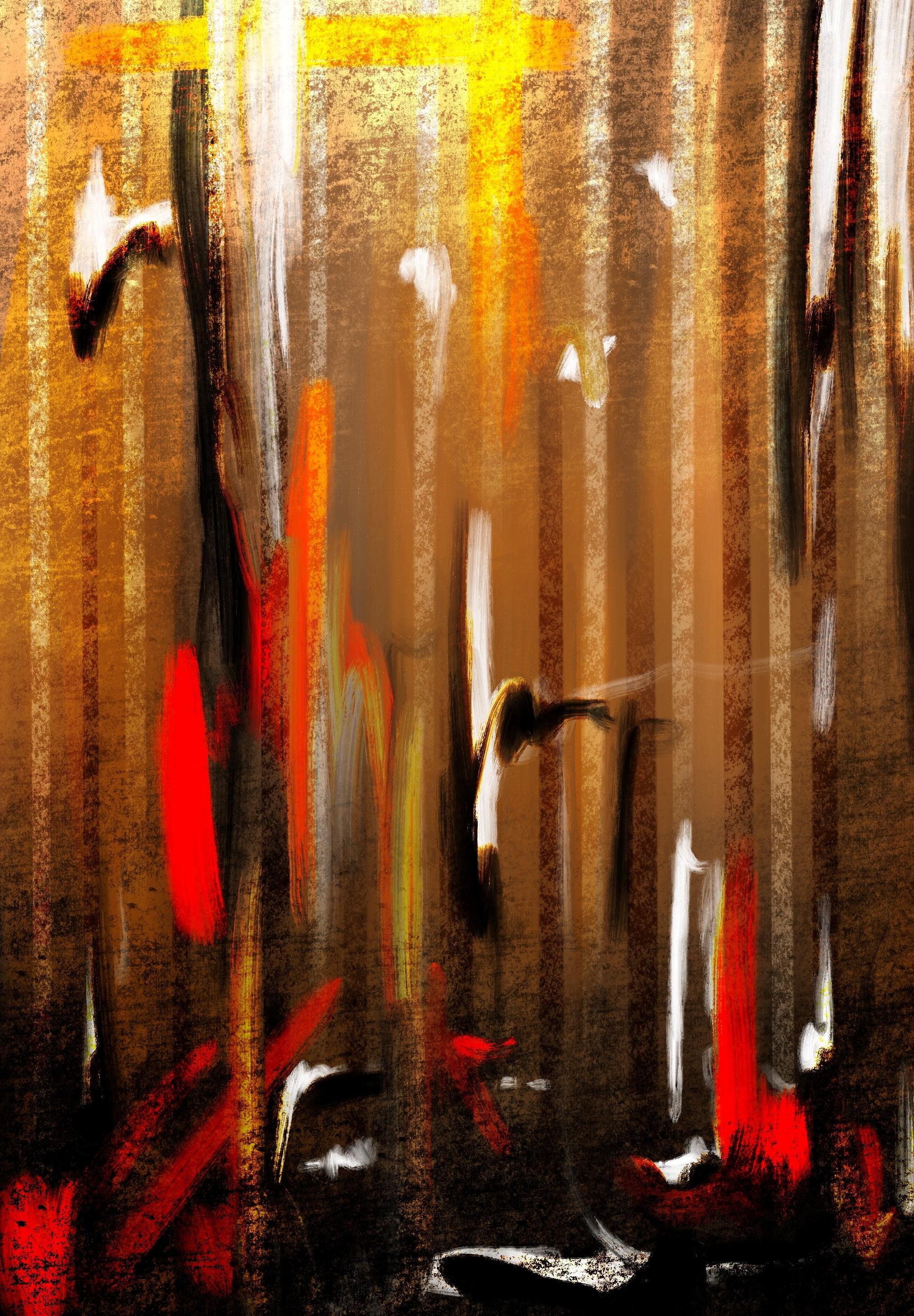 An abstract digital painting by Lily Bourne printed on eco fine art paper titled Autumnal Burst showing orange, red, white and black downward strokes portraying trees with the colours of autumn.