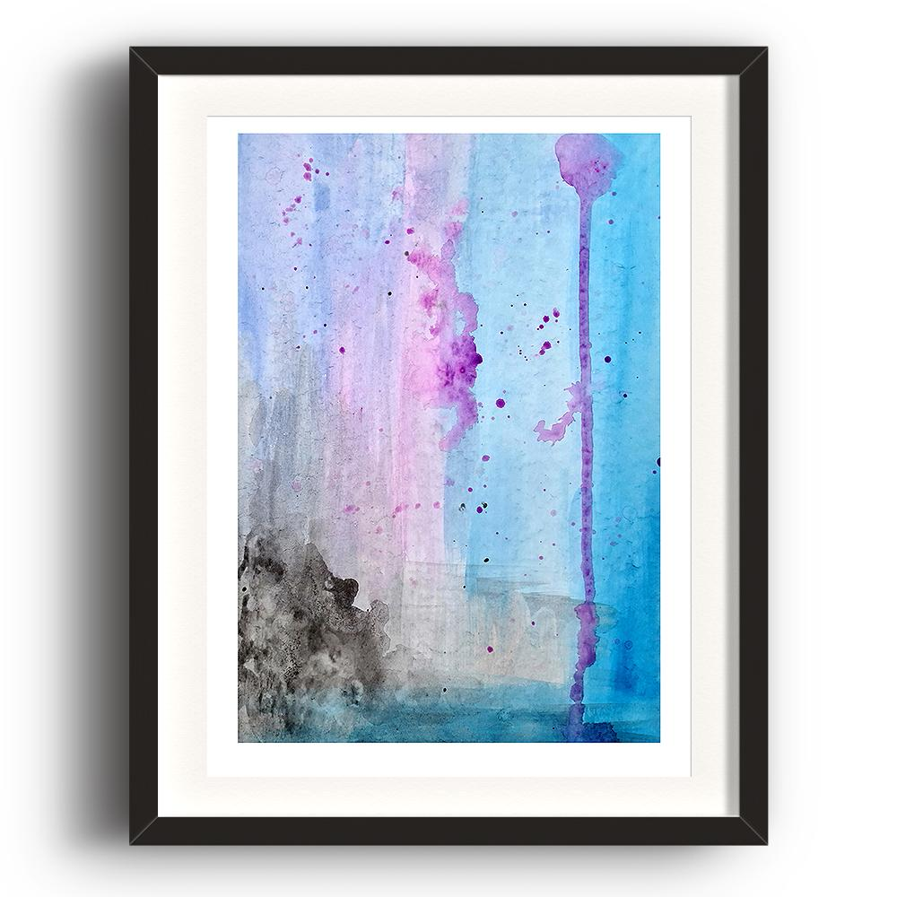 An abstract watercolour print by Clarrie-Anne on eco fine art paper titled Lilac Skies showing a lilac, blue and black themed watercolour interpretation of the sky as the colours run down the page. The image is set in a black coloured picture frame.