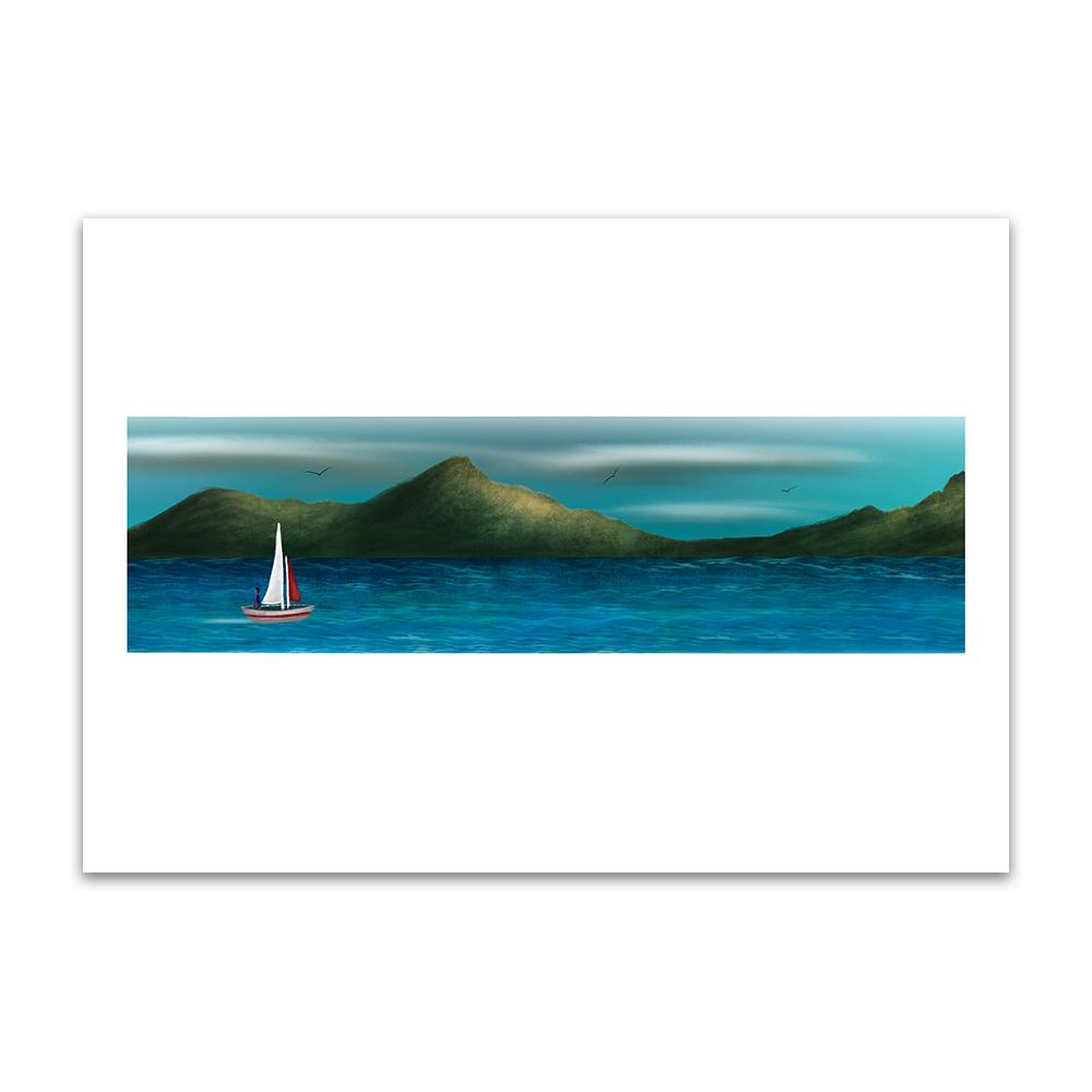 A digital painting by Lily Bourne printed on eco fine art paper titled Just Breath 1.1 showing a landshape view of a sail boat with one person sailing on open water with mountains behinds and birds flying above.