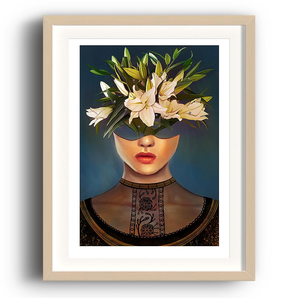 A digital painting by Lily Bourne printed on eco fine art paper titled Lilium showing a female head dressed in a black lace top. The head acts as a vase for white lily flowers. The image is set in a beech coloured picture frame.