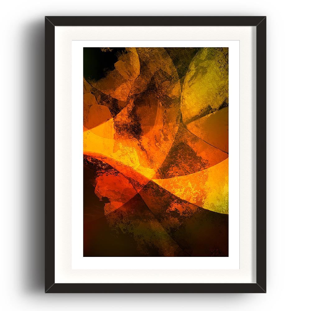 A digital painting by Lily Bourne printed on eco fine art paper titled Autumn Passion From Within showing a series of curved lines and textures coloured shade of orange and yellow. The image is set in a black coloured picture frame.