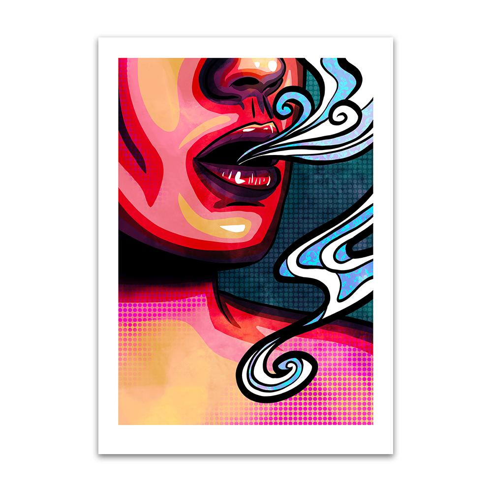 A pop art styled digital painting by Lily Bourne printed on eco fine art paper titled Emanate showing the mouth of a female exhaling breath.