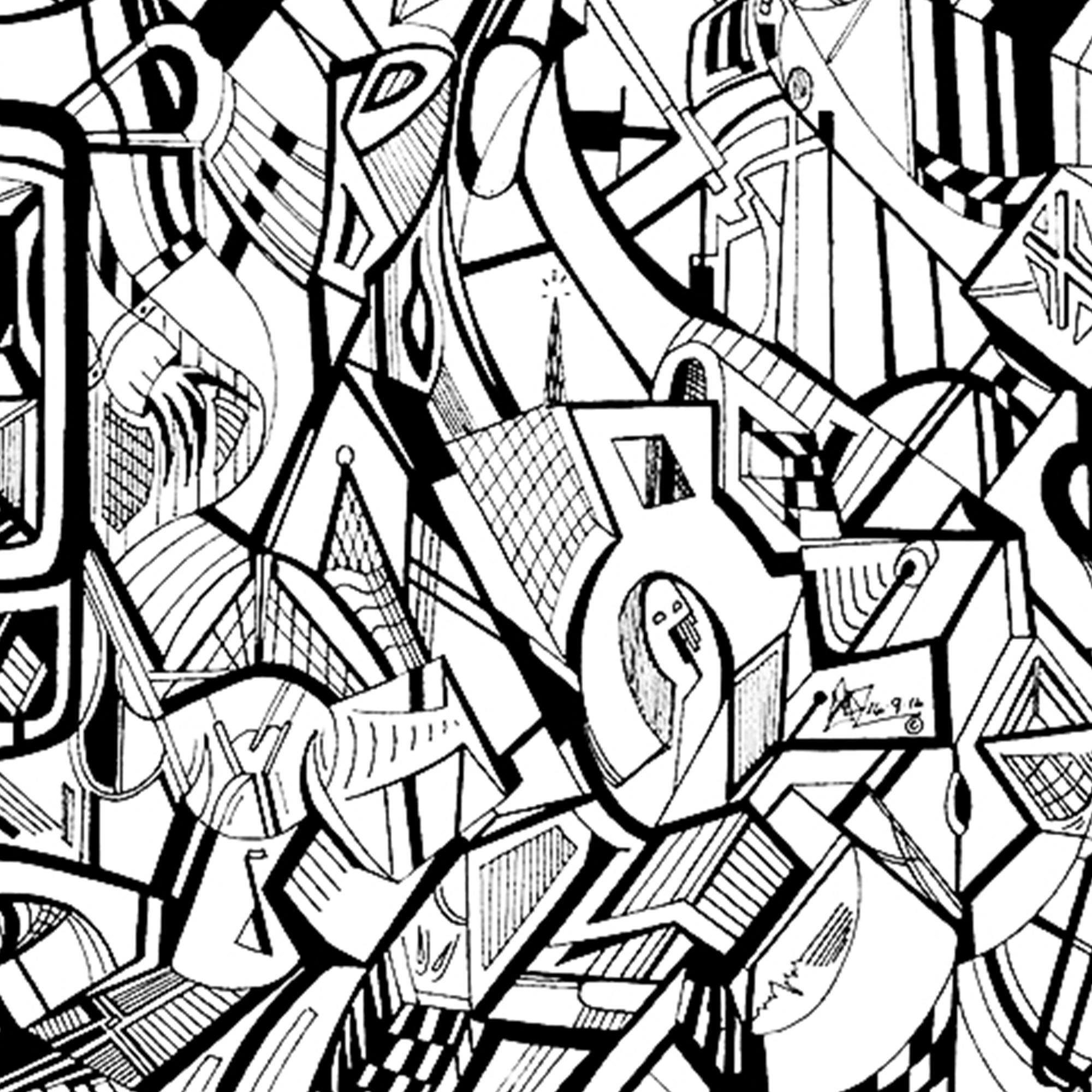 Close up of a fine art print from Jason Clarke titled Mobile drawn with a black Pentel pen.