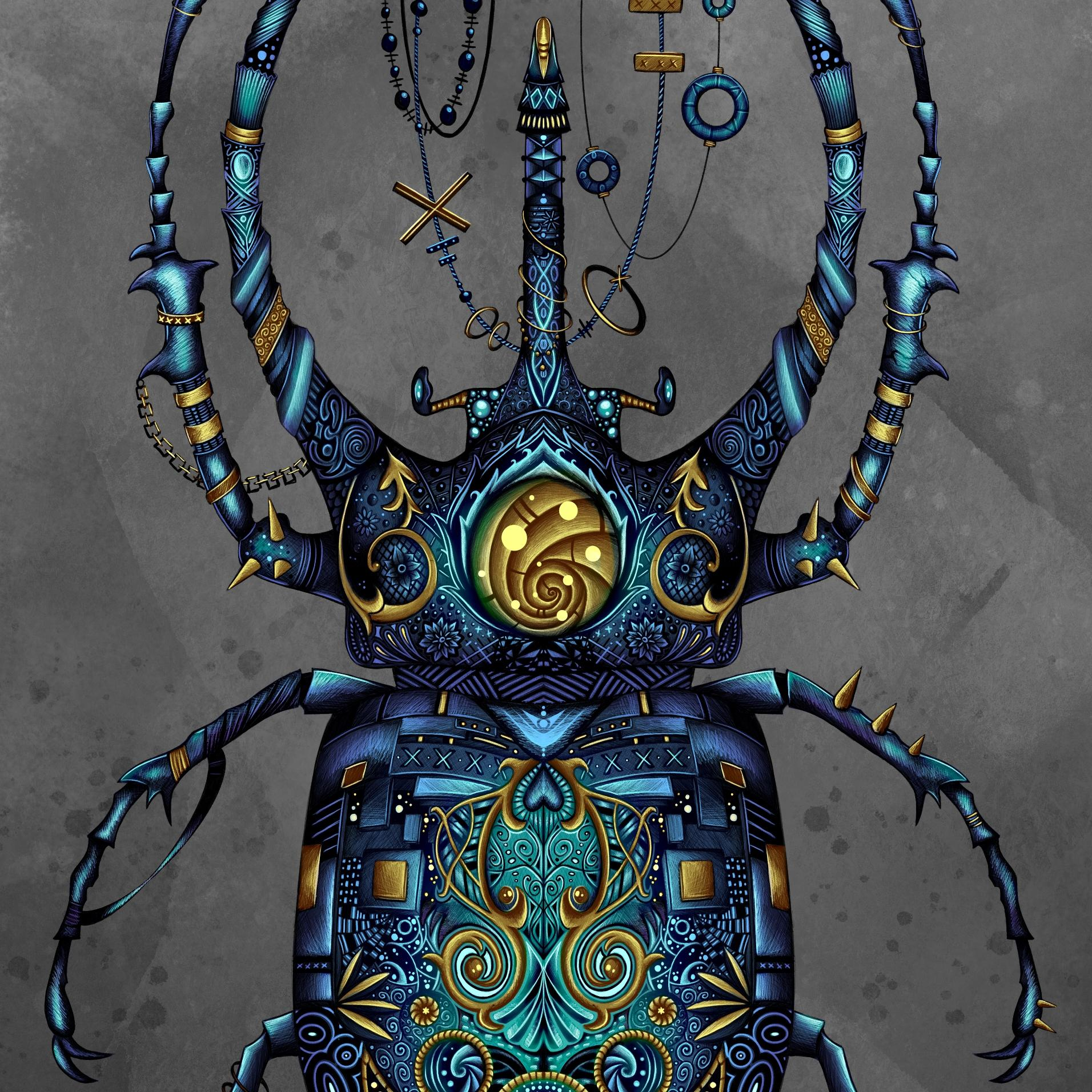 Close up of a digital painting by Lily Bourne printed on eco fine art paper titled Beetle showing a jewel encrusted beetle coloured blue and turquoise with grey background in a steam punk style.