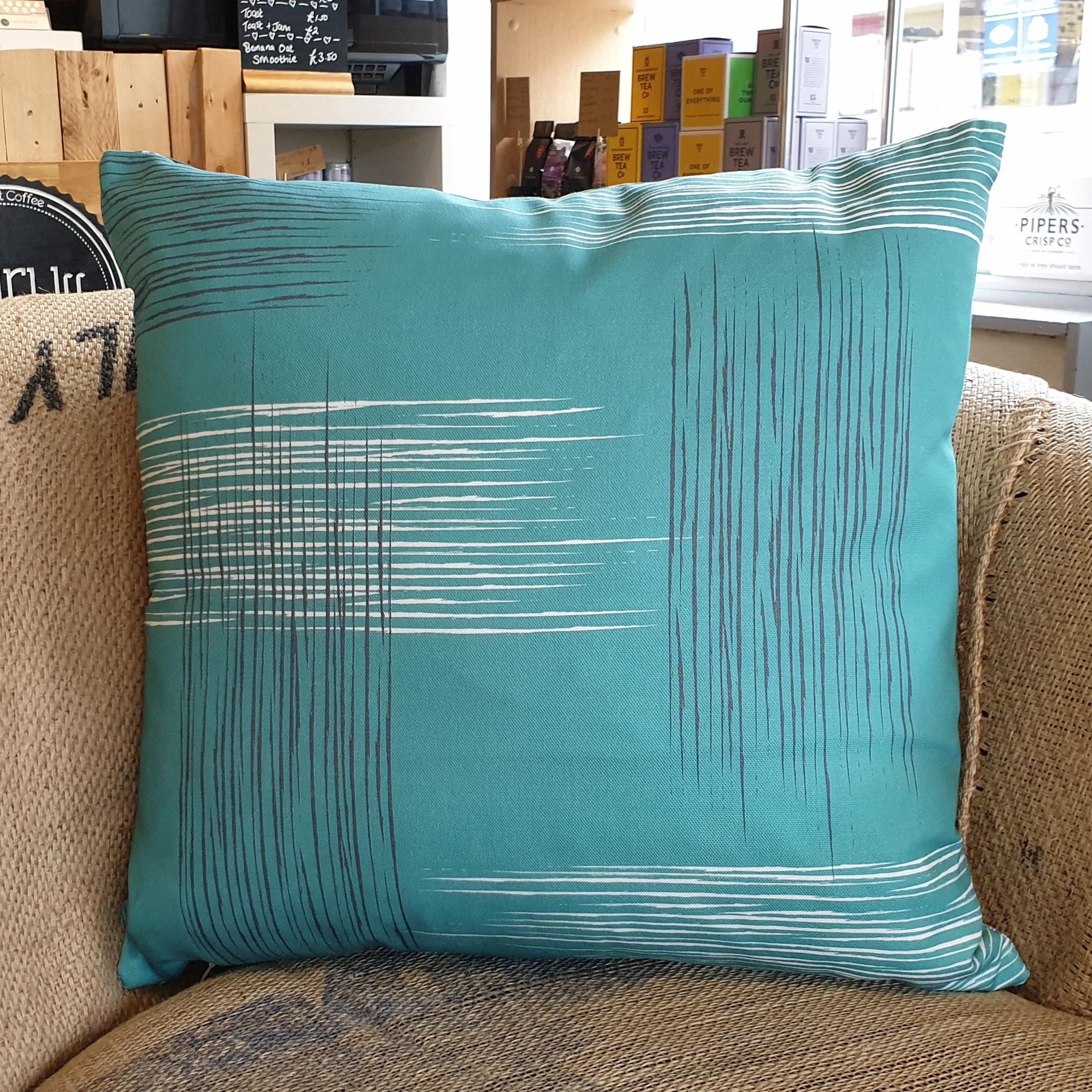 Double-sided aqua teal 45cm square retro themed cushion with artistic grey and white shards designed by thetinkan. Available with an optional luxury cushion inner pad. VIEW PRODUCT >>