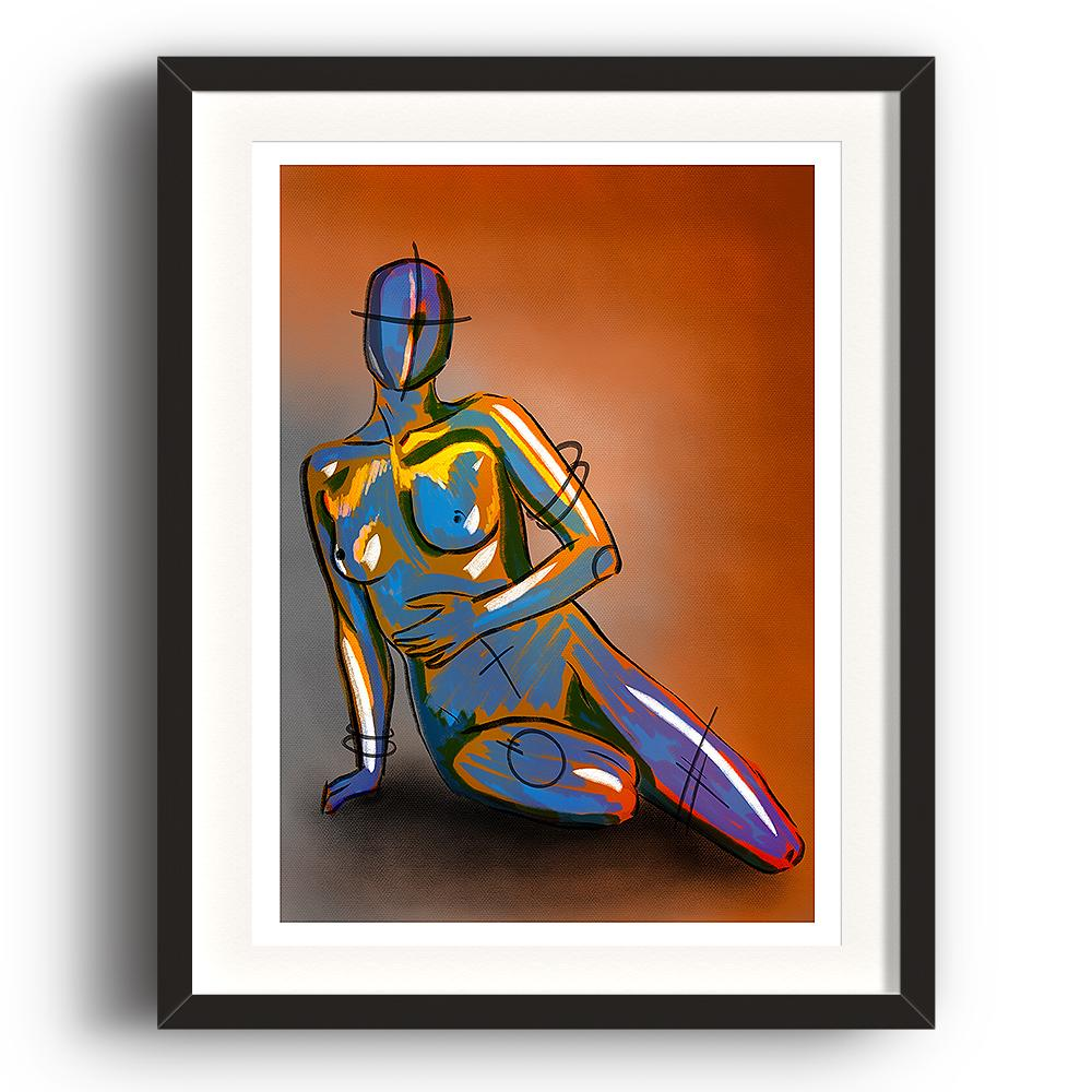 A digital painting called Naked Concept by Lily Bourne. A robotic figurine is sitting overlaid with yellow and lilac paint strokes. Orange and grey background. The image is set in a black coloured picture frame.