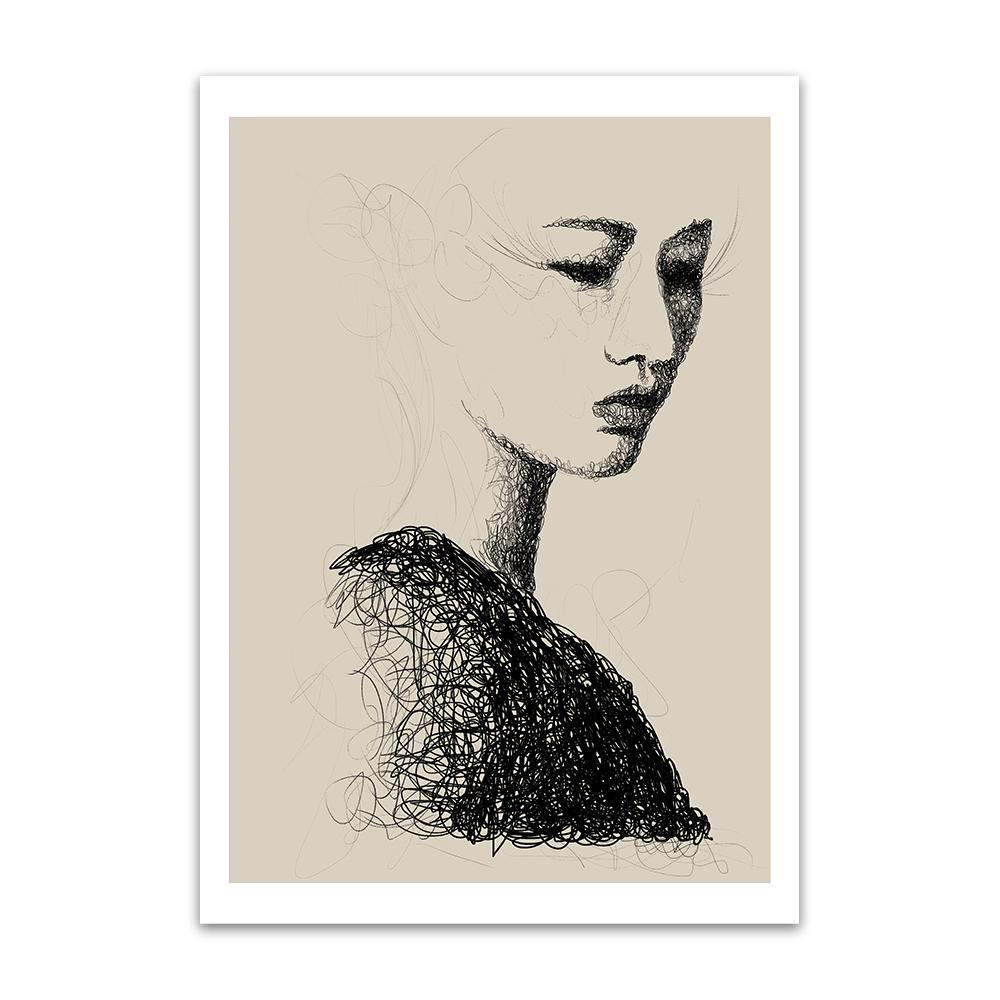 A digital painting called Line Study 1.0 by Lily Bourne showing a delicate female head contructed a swirling black line on a neutral background.