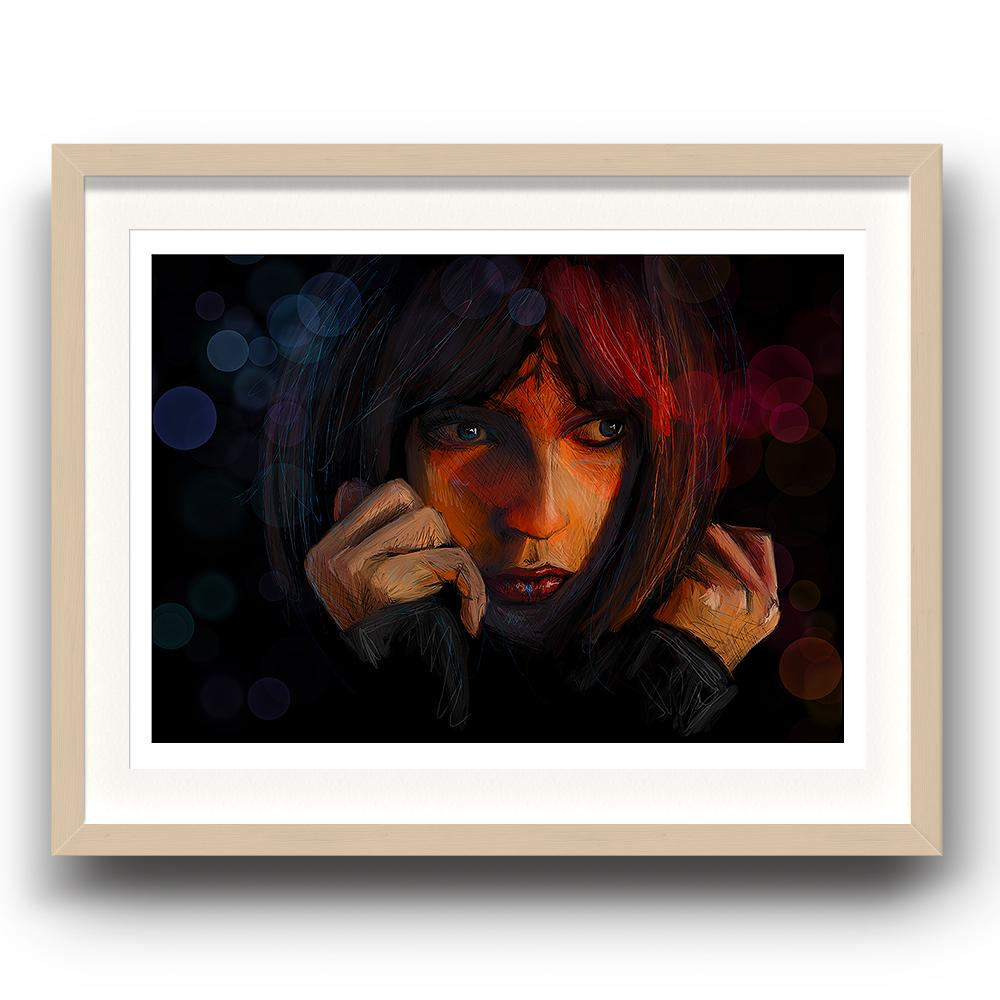 A digital painting called This Moment by Lily Bourne showing a female face with a dark background looking apprehensive. The image is set in a beech coloured picture frame.