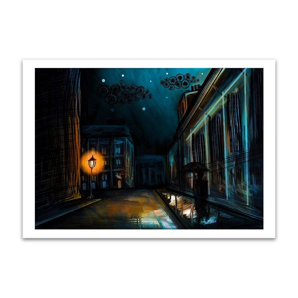 A digital painting called November Footsteps by Lily Bourne showing nighttime in Edinburgh as a man walks in the shadows with an umbrella raised to stop the drips from the building after a late night shower.