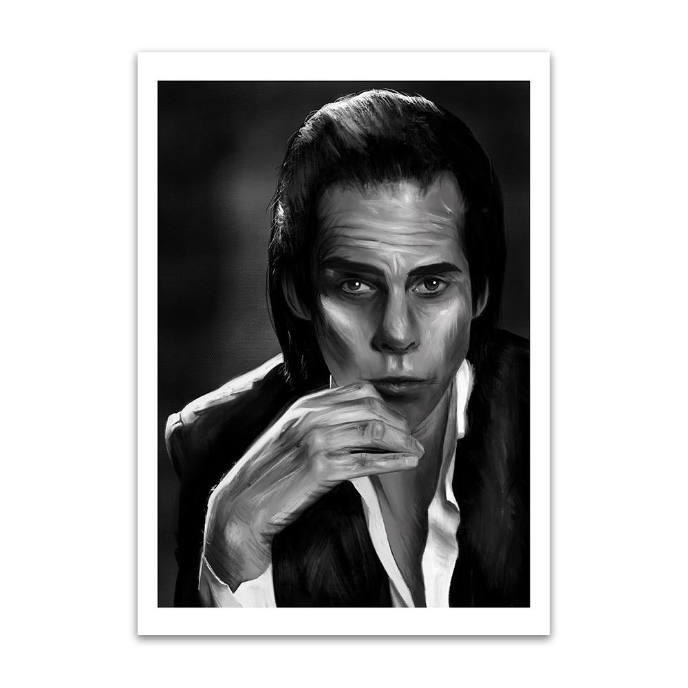 A digital painting called Nick Cave Study 1 by Lily Bourne showing black and white posed image of songwriter and performer Nick Cave.