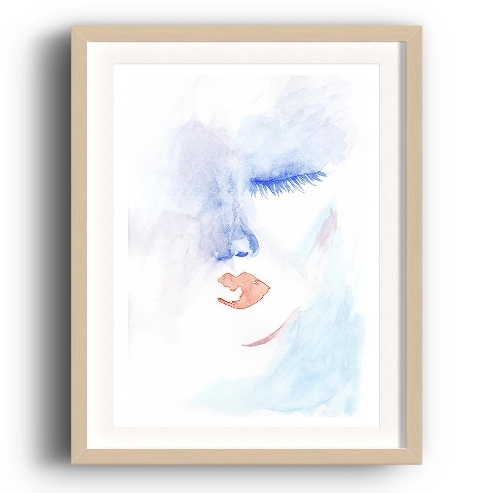 A watercolour print by Clarrie-Anne on eco fine art paper titled Admission showing half a female face with blue eye closed and red lips. The image is set in a beech coloured picture frame.