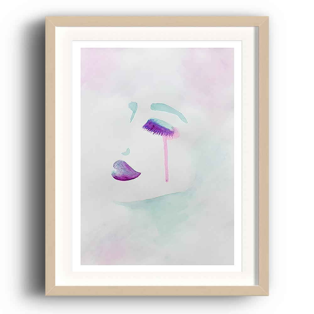 A watercolour print by Clarrie-Anne on eco fine art paper titled Exquisitely showing a female face from the side in watercolour purple and aqua green with a neutral colour wash background. The image is set in a beech coloured picture frame.