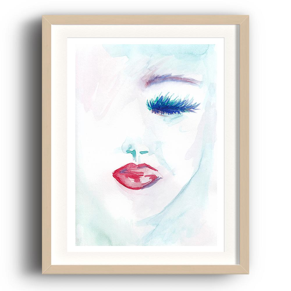 A watercolour print by Clarrie-Anne on eco fine art paper titled Melancholy showing a a female face with a closed blue eye and red lipstick. The image is set in a beech coloured picture frame.
