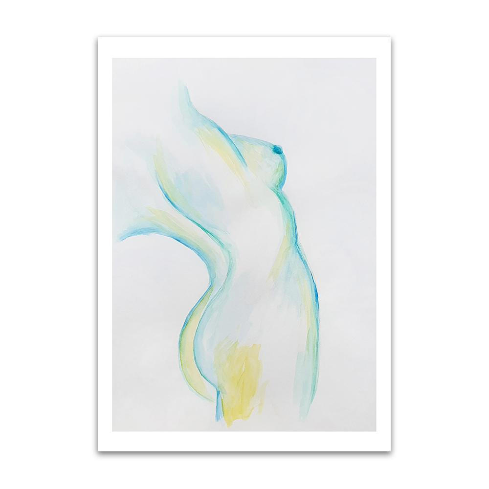 A watercolour print by Clarrie-Anne on eco fine art paper titled Stretch showing the sideview of a naked lady painted in turquoize blue and yellow.