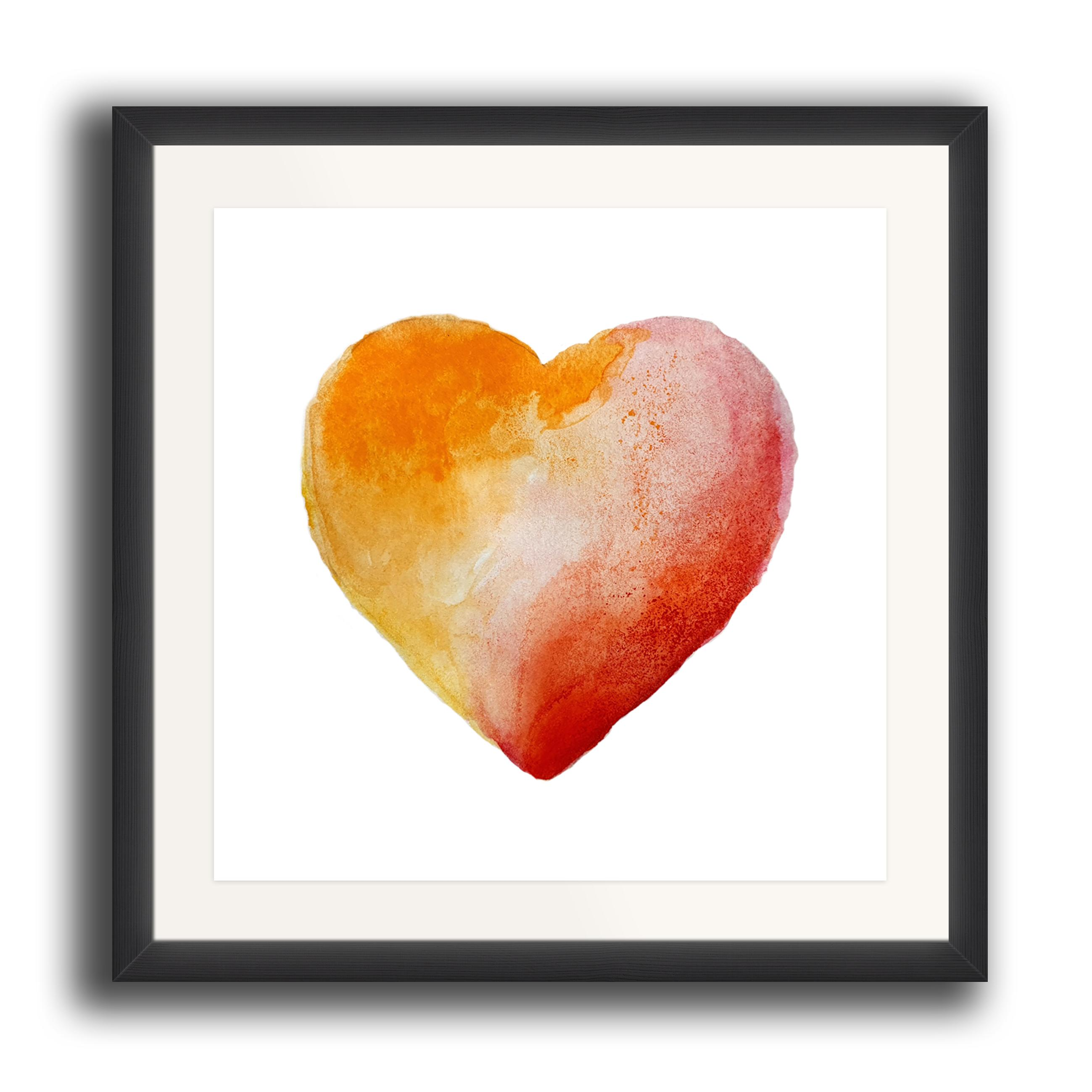 A watercolour print by Clarrie-Anne on eco fine art paper titled Warm Heart showing read and orange watercolour wash heart on a white background. The image is set in a black coloured picture frame.