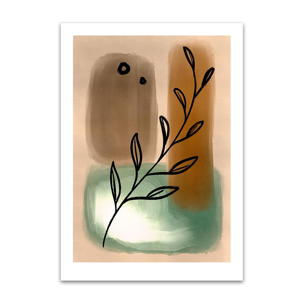 An abstract digital painting by Lily Bourne printed on eco fine art paper titled Tranquil Moment showing a line drawn olive branch over neutral green and brown painted hues.