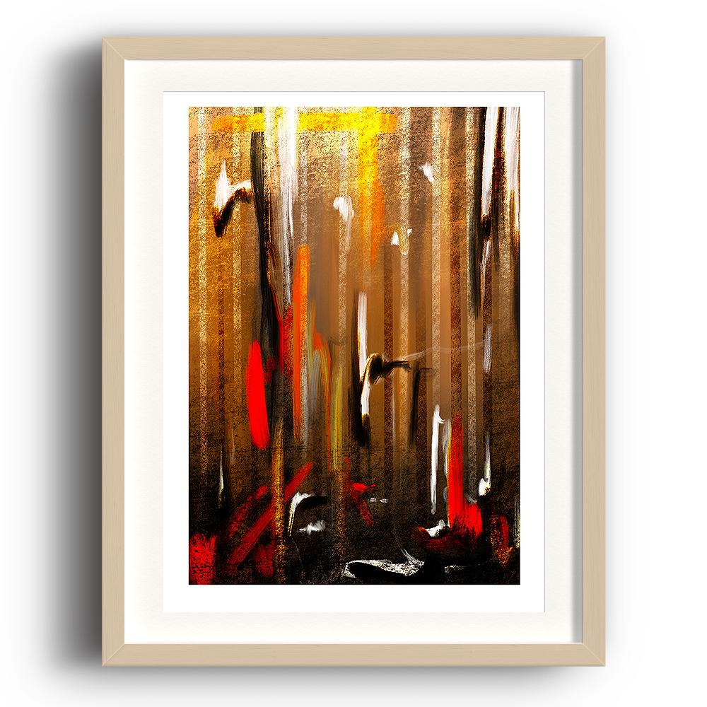 An abstract digital painting by Lily Bourne printed on eco fine art paper titled Autumnal Burst showing orange, red, white and black downward strokes portraying trees with the colours of autumn. The image is set in a beech coloured picture frame.