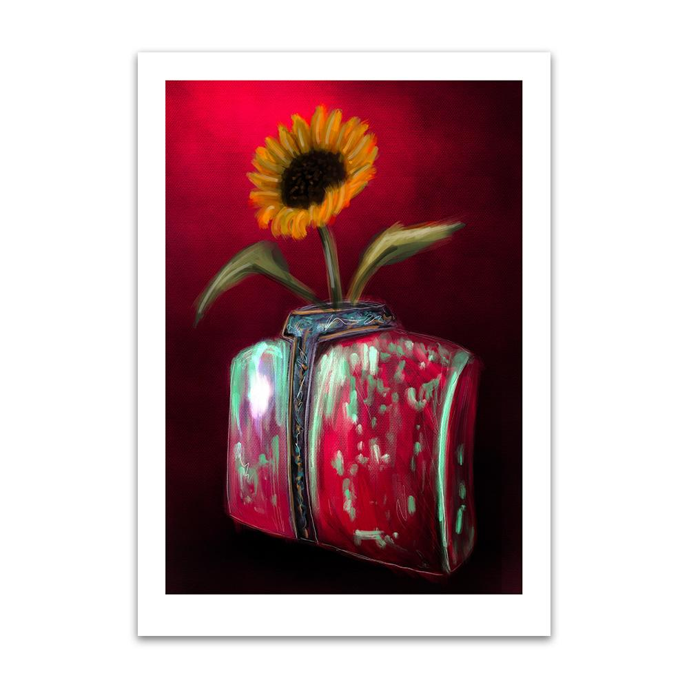 A digital painting by Lily Bourne printed on eco fine art paper titled Blooming showing a solitary sunflower in a torso shaped red and green coloured against a deep red wall.