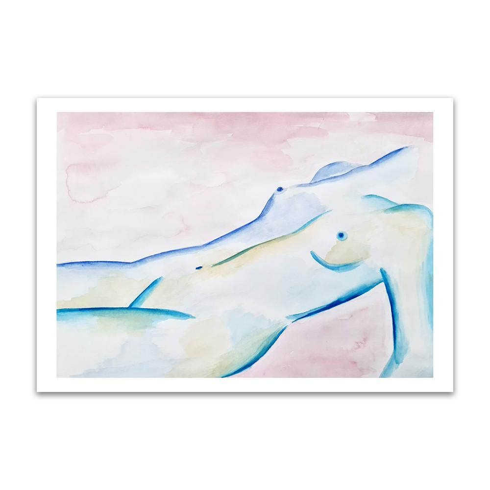 A watercolour print by Clarrie-Anne on eco fine art paper titled Subdued showing a pink wash background with a blue line naked female lying down.