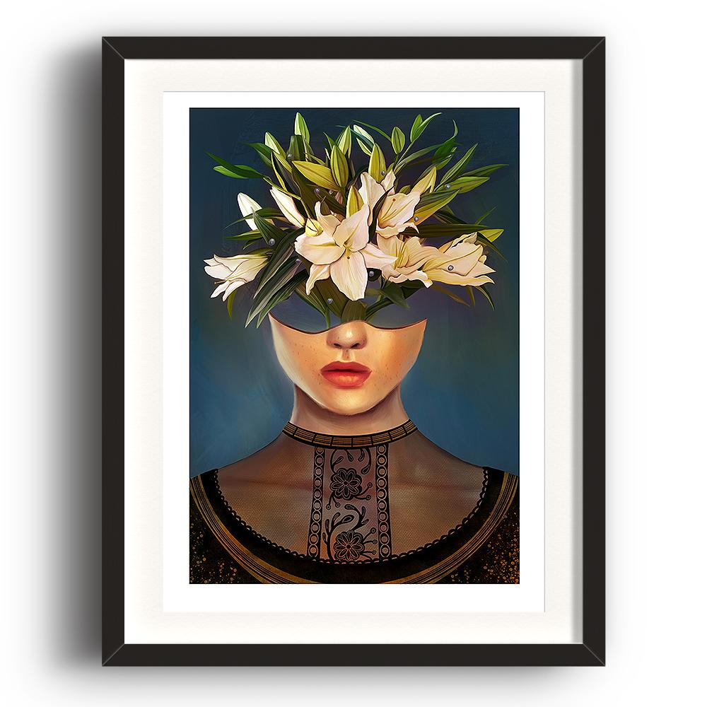 A digital painting by Lily Bourne printed on eco fine art paper titled Lilium showing a female head dressed in a black lace top. The head acts as a vase for white lily flowers. The image is set in a black coloured picture frame.
