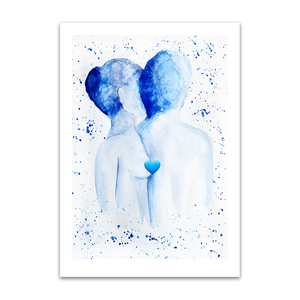 A watercolour print by Clarrie-Anne on eco fine art paper titled Just Us. A naked top half of a male and female facing away from the viewer in blue watercolour with splash background.
