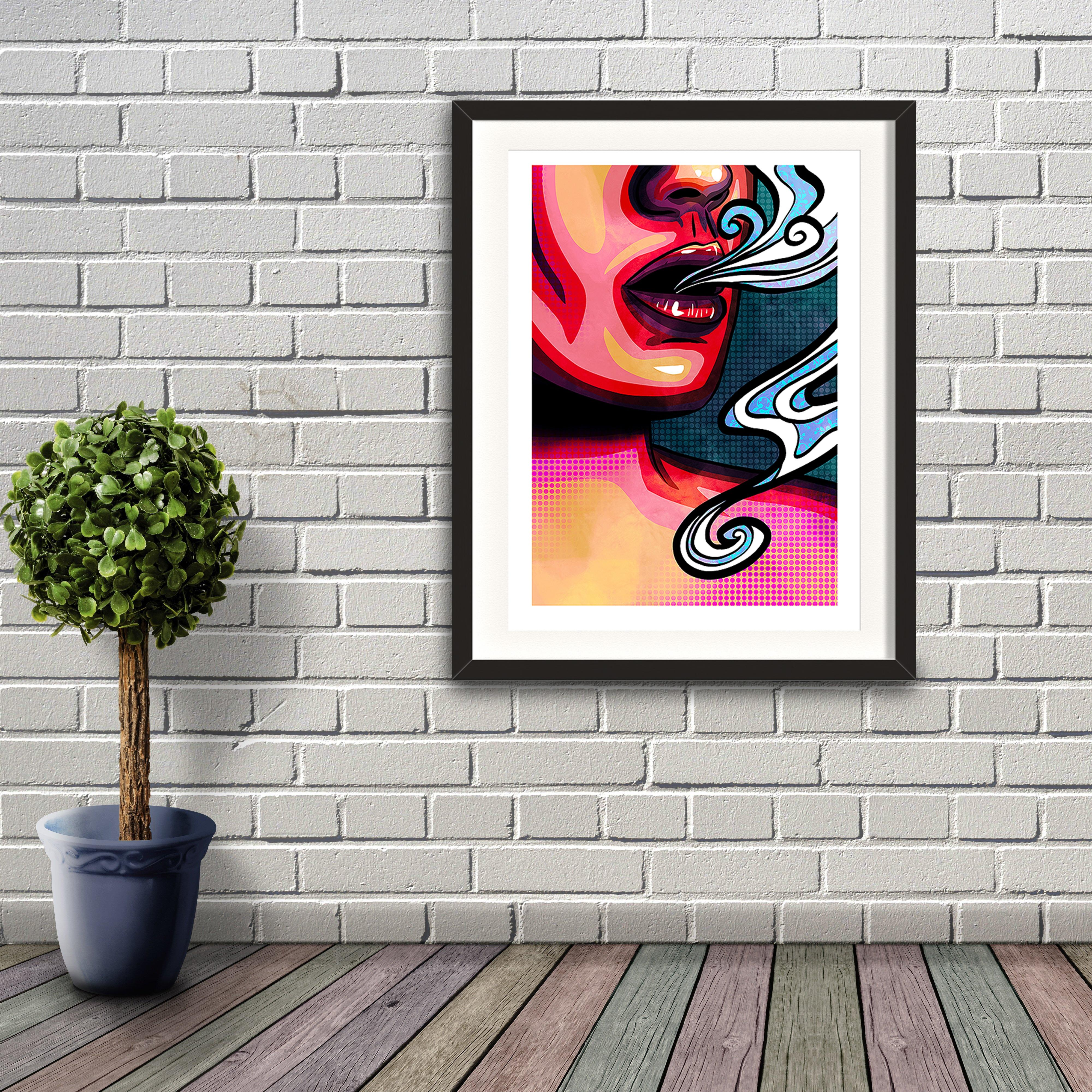 A pop art styled digital painting by Lily Bourne printed on eco fine art paper titled Emanate showing the mouth of a female exhaling breath. Artwork shown in a black frame hanging on a brick wall.