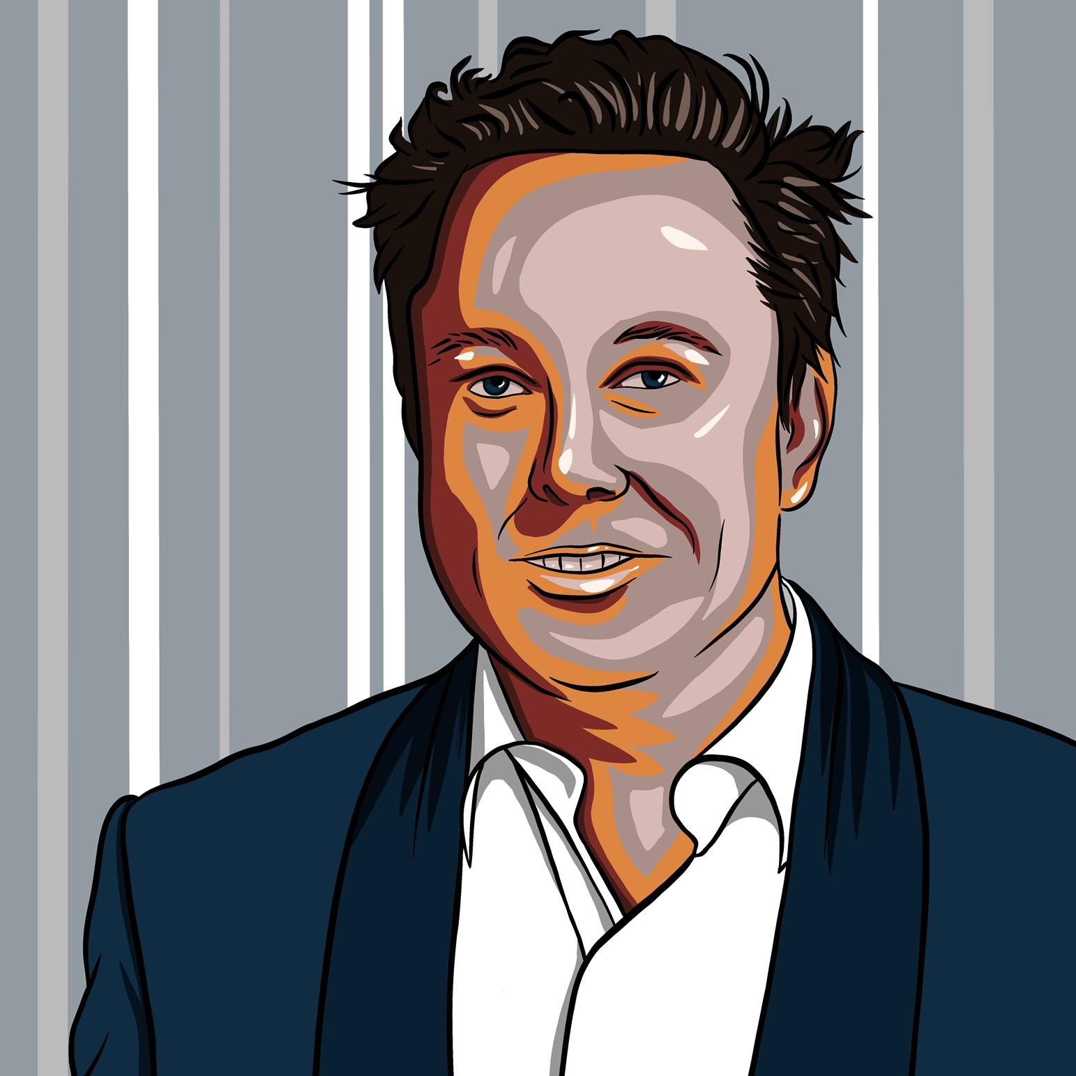 A digital painting in the form of pop art by Lily Bourne of Elon Musk showing the entrepreneur confidently wearing a suit. Colours, grey blue and natural.