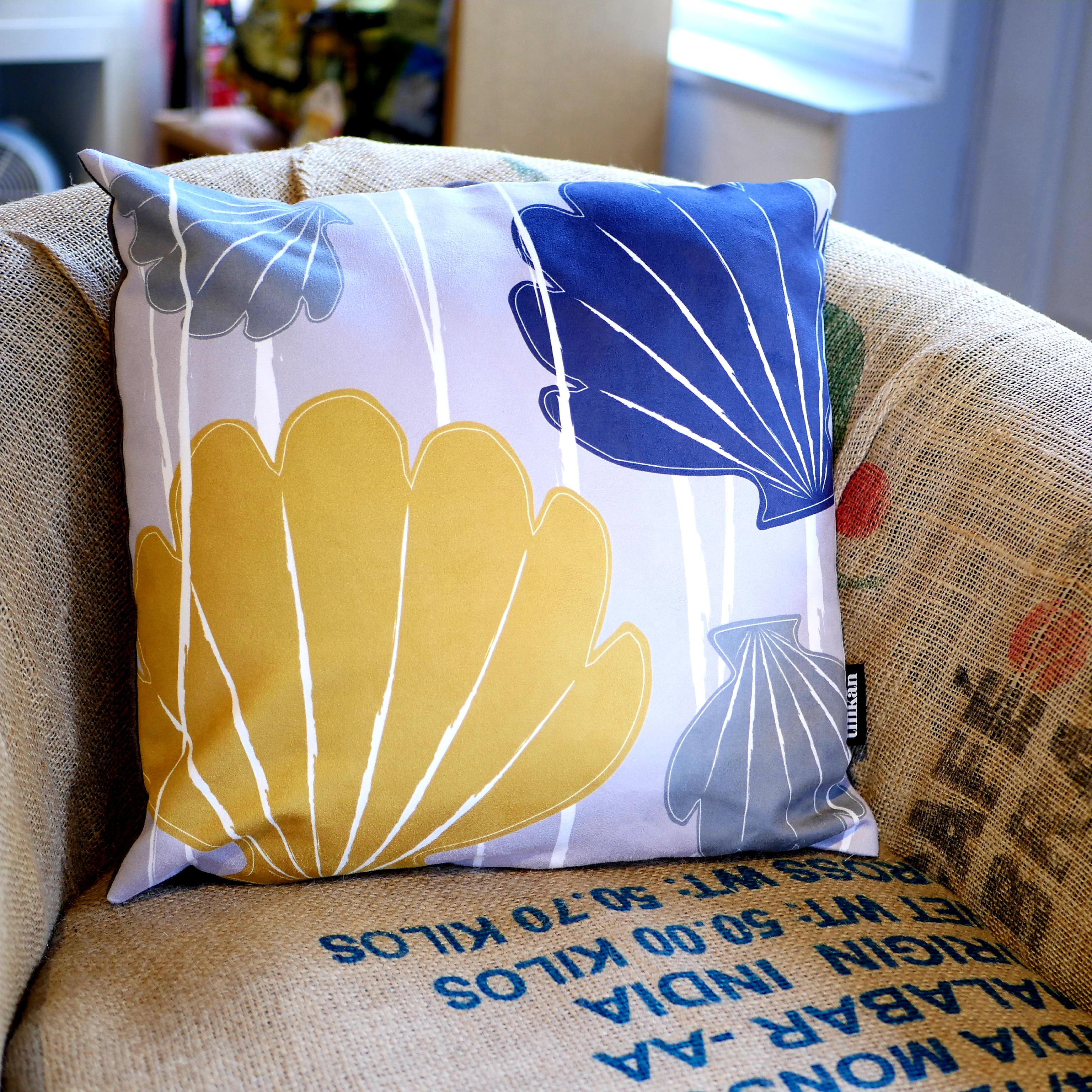 Blue, mustard yellow & grey faux suede soft feel Abstract Shells Cushion, 43cm square, with luxury inner pad designed by thetinkan. VIEW PRODUCT >>