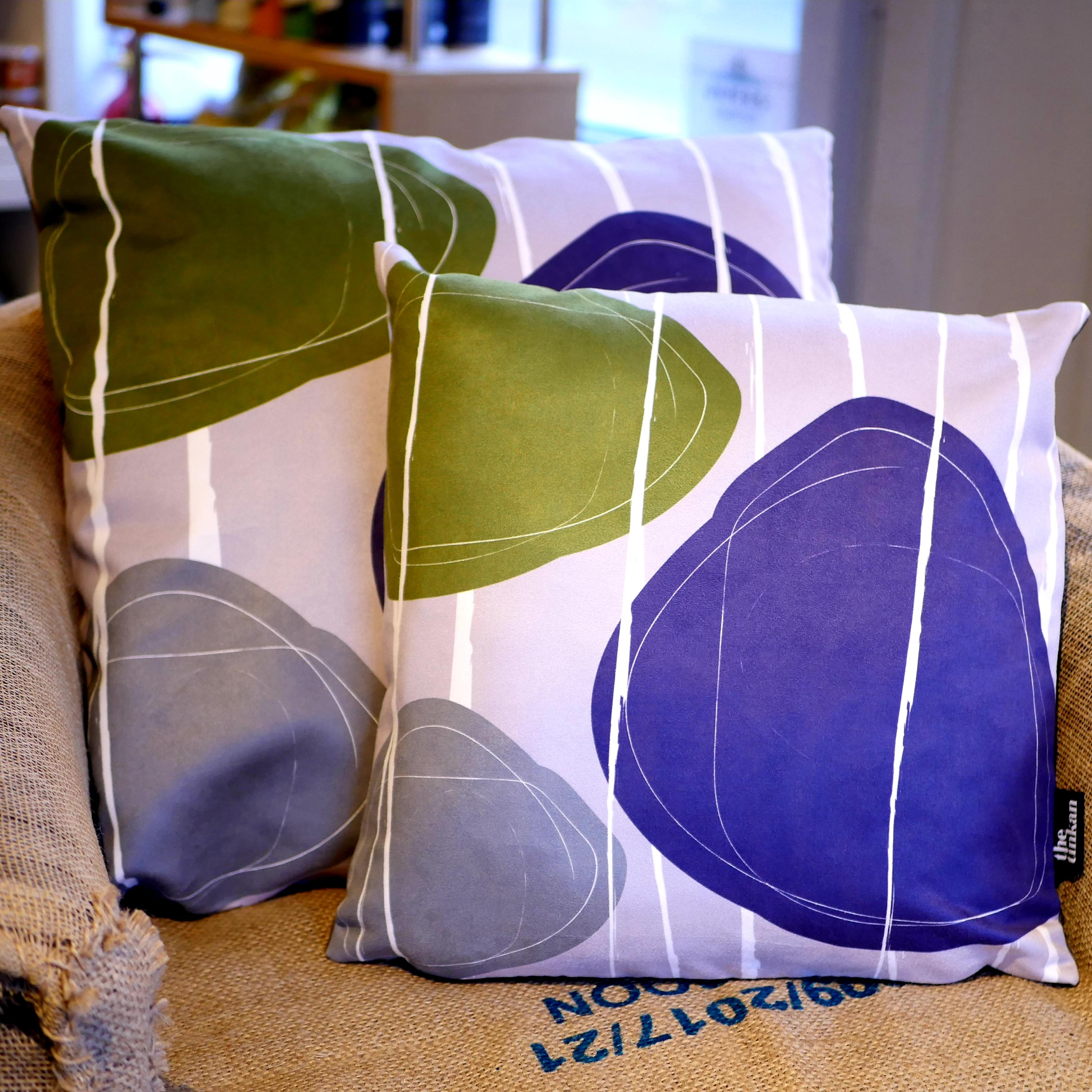 Purple, olive green & grey faux suede soft feel Abstract Pebbles Cushions, 43cm & 57cm square, with luxury inner pads designed by thetinkan. VIEW PRODUCT >>