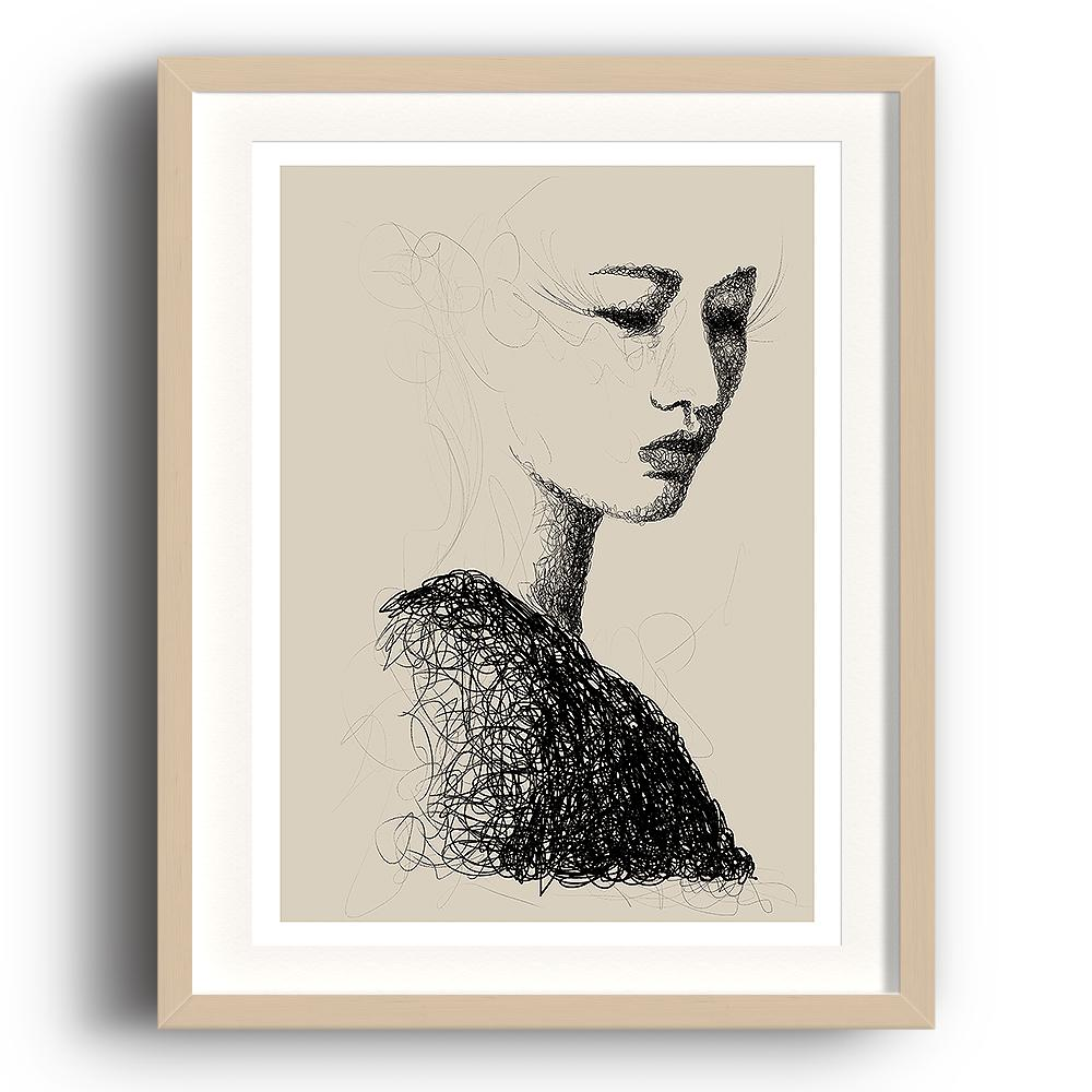A digital painting called Line Study 1.0 by Lily Bourne showing a delicate female head contructed a swirling black line on a neutral background. The image is set in a beech coloured picture frame.