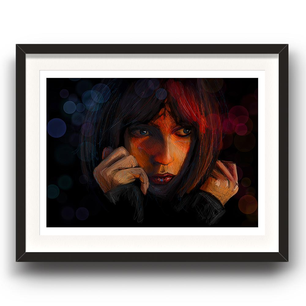 A digital painting called This Moment by Lily Bourne showing a female face with a dark background looking apprehensive. The image is set in a black coloured picture frame.
