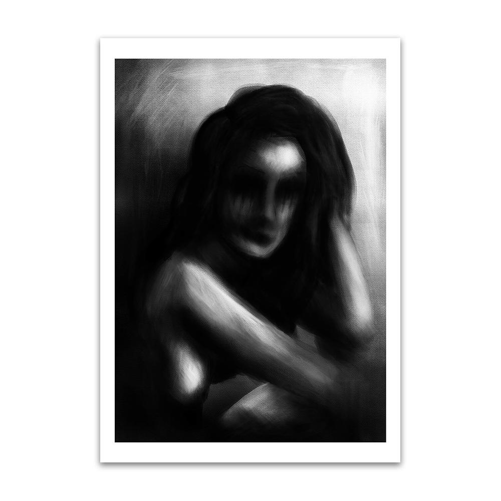A digital painting called Raw Tears by Lily Bourne showing a greyscale out of focus woman who has been crying through frustration.