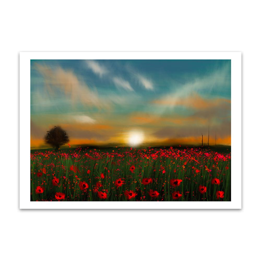 A digital painting called Poppy Sunset by Lily Bourne showing a field of poppies with the sunsetting in the background.