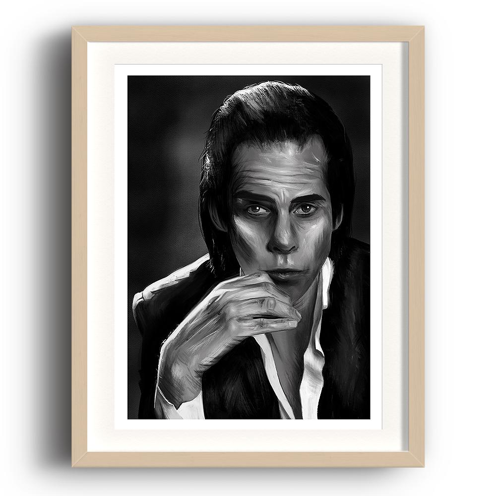 A digital painting called Nick Cave Study 1 by Lily Bourne showing black and white posed image of songwriter and performer Nick Cave. The image is set in a beech coloured picture frame.