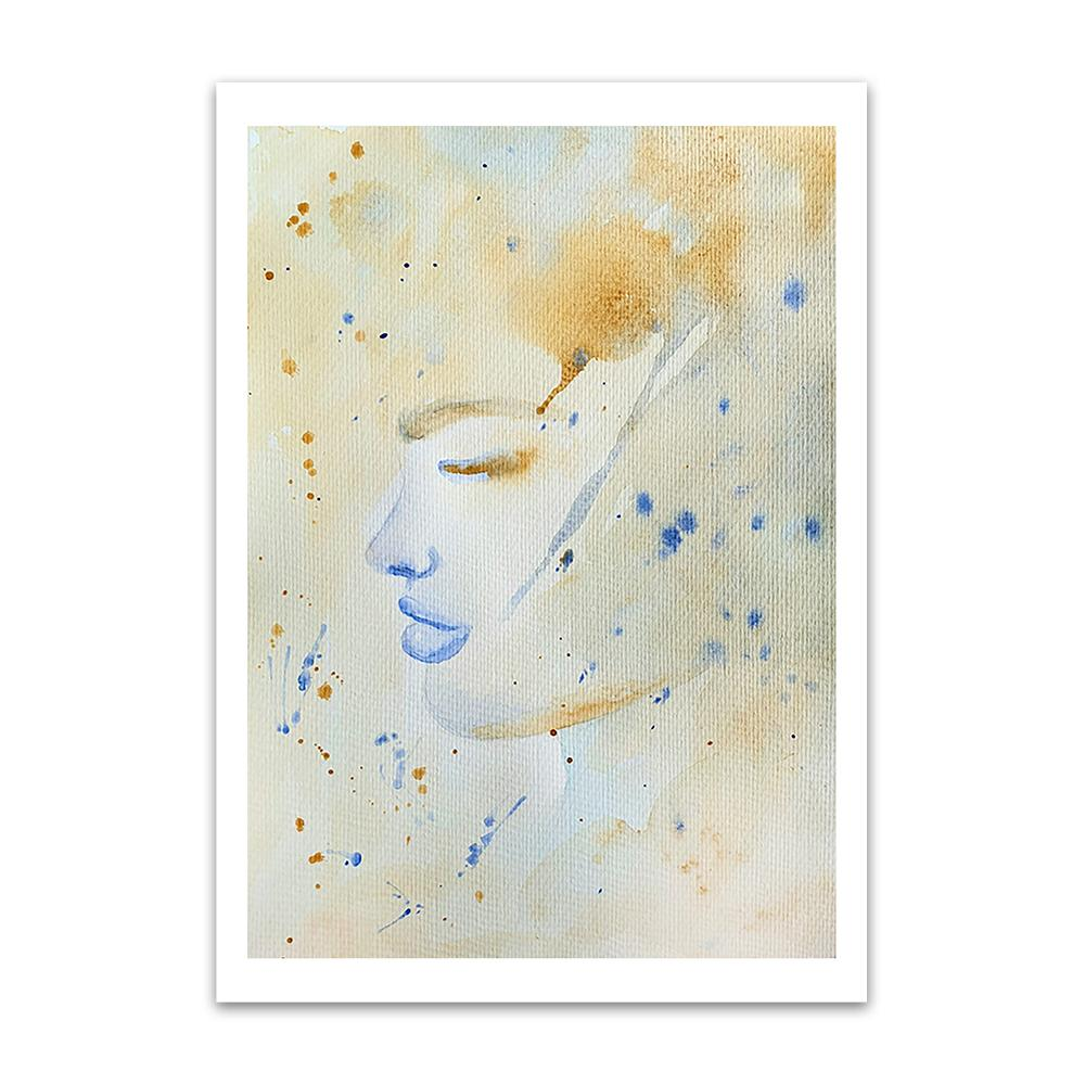 A watercolour print by Clarrie-Anne on eco fine art paper titled Tea Storm showing a washed and spotted watercolour colour background of the side profile of a female face with blue lips.