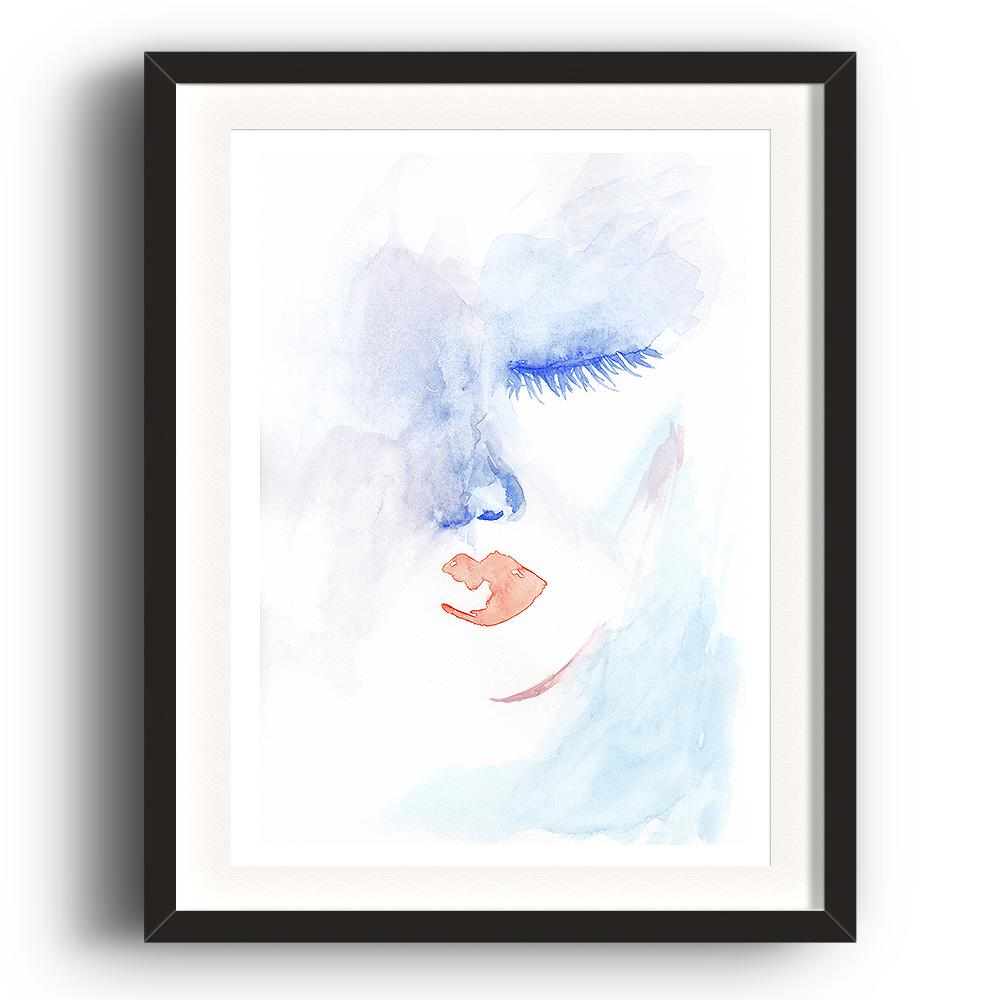 A watercolour print by Clarrie-Anne on eco fine art paper titled Admission showing half a female face with blue eye closed and red lips. The image is set in a black coloured picture frame.