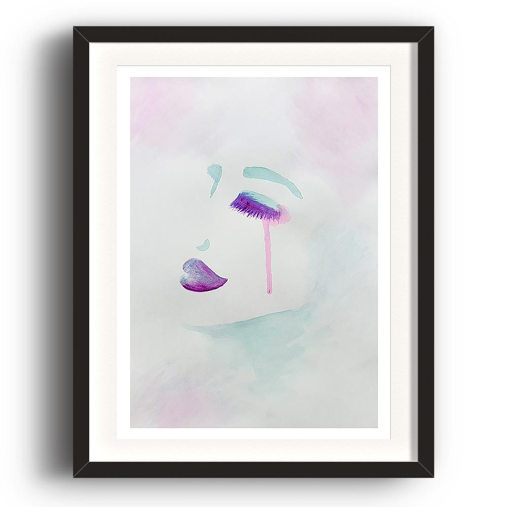 A watercolour print by Clarrie-Anne on eco fine art paper titled Exquisitely showing a female face from the side in watercolour purple and aqua green with a neutral colour wash background. The image is set in a black coloured picture frame.