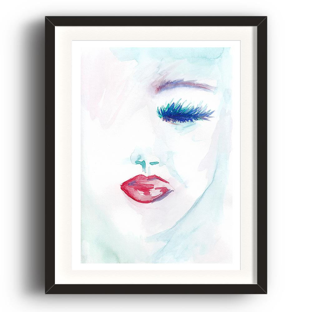 A watercolour print by Clarrie-Anne on eco fine art paper titled Melancholy showing a a female face with a closed blue eye and red lipstick. The image is set in a black coloured picture frame.