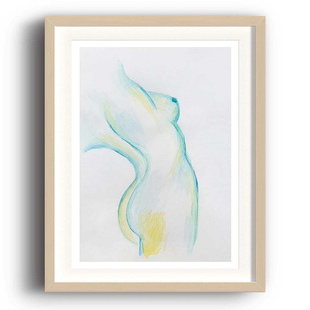A watercolour print by Clarrie-Anne on eco fine art paper titled Stretch showing the sideview of a naked lady painted in turquoize blue and yellow. The image is set in a beech coloured picture frame.