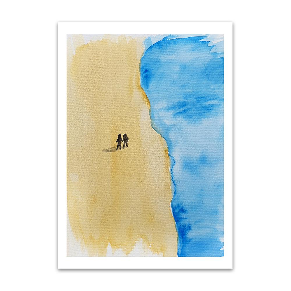 A watercolour print by Clarrie-Anne on eco fine art paper titled Take A Walk In Your Mind showing a deserted sandy beach from above with the sea approaching from the right and two small figures silhouetted alone on the beach holding hands.