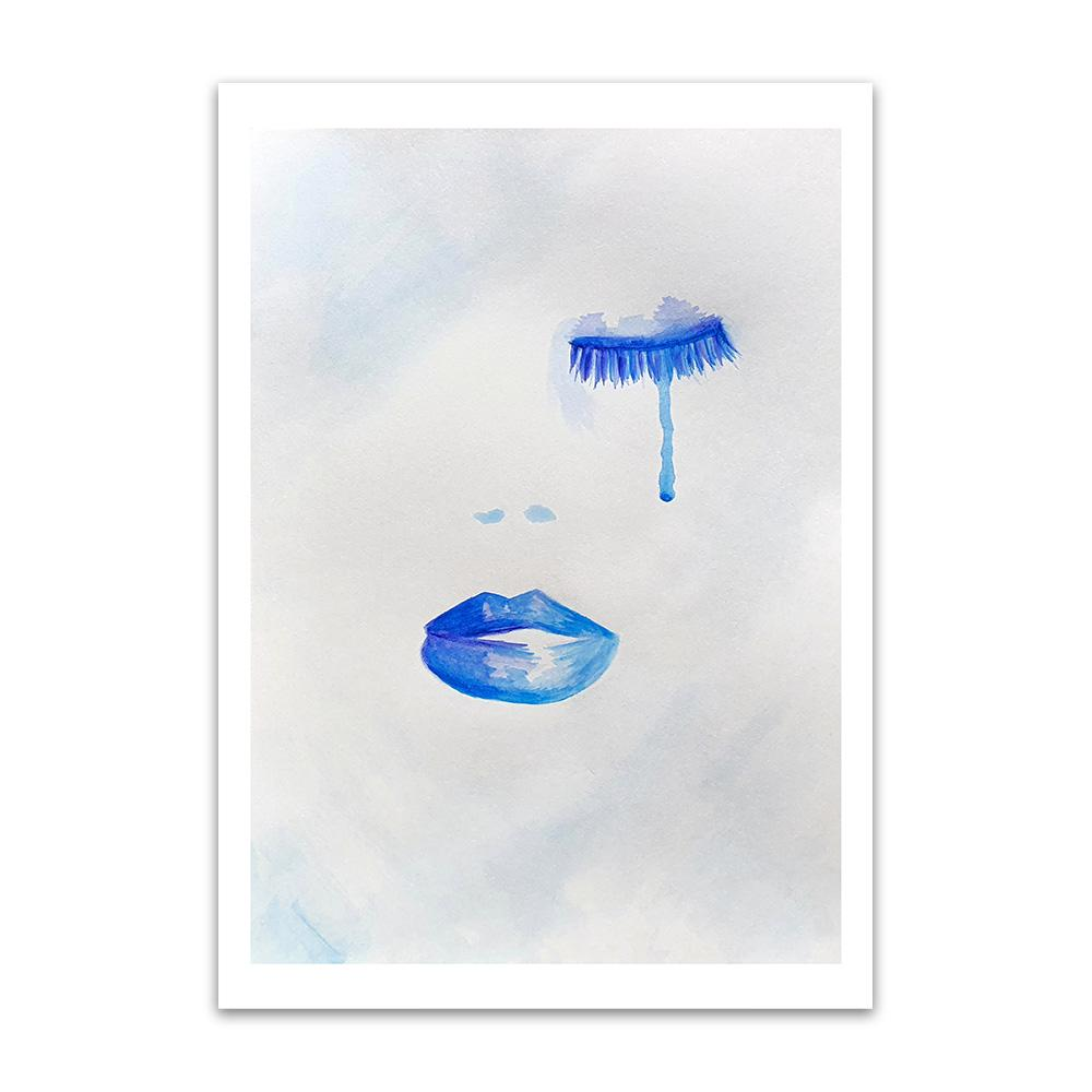 A watercolour print by Clarrie-Anne on eco fine art paper titled Thalassophile showing closed eyes with eyelashes and a tear falling, nostrils and lips pained in blue.