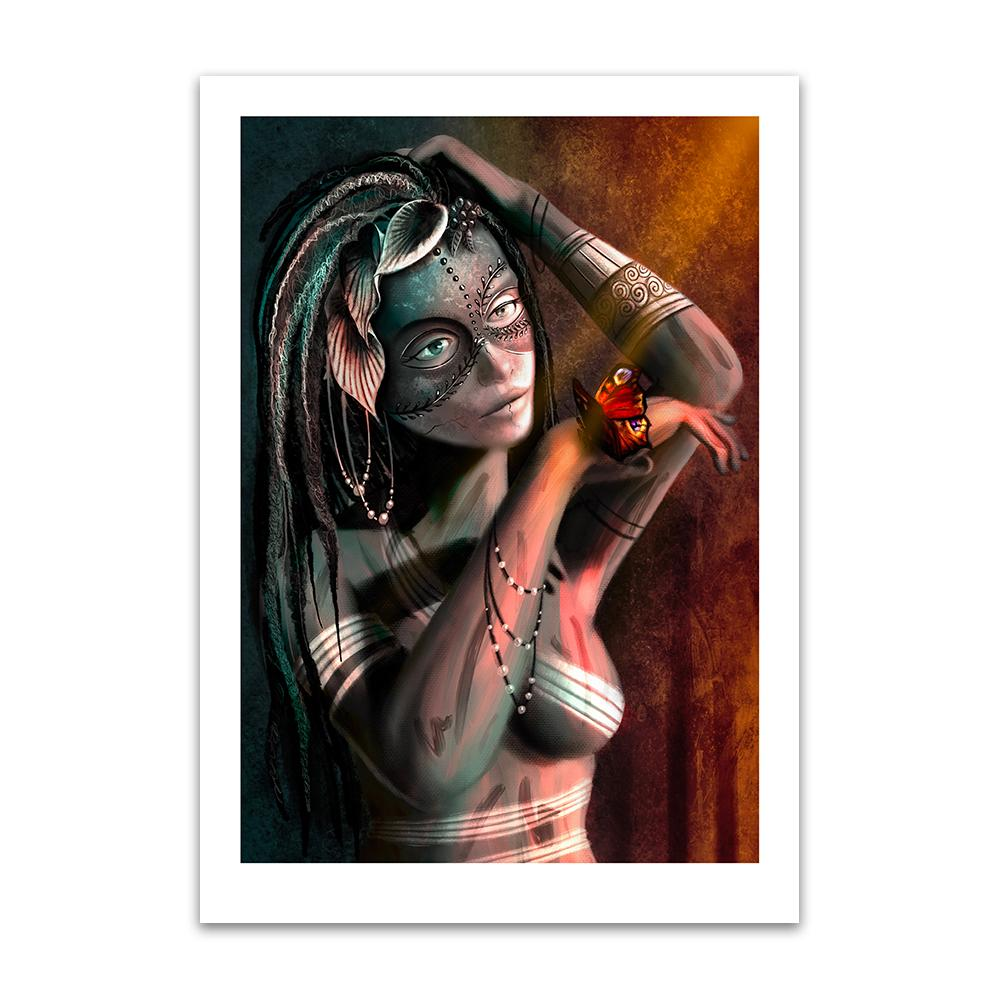 A digital painting by Lily Bourne printed on eco fine art paper titled Beauty: Behind The Mask showing a tattooed decorated lady wearing a cracked mask with a butterfly on her hand.