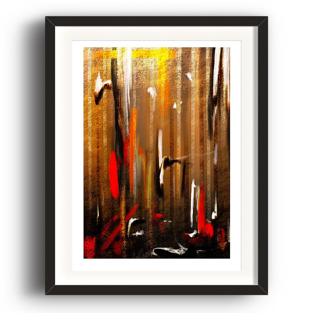 An abstract digital painting by Lily Bourne printed on eco fine art paper titled Autumnal Burst showing orange, red, white and black downward strokes portraying trees with the colours of autumn. The image is set in a black coloured picture frame.