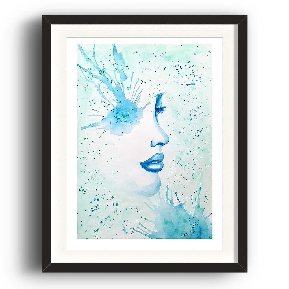 A watercolour print by Clarrie-Anne on eco fine art paper titled Surfacing showing a black watercolour outlined female face with a blue paint splattered eye and paint splatters across the picture. The image is set in a black coloured picture frame.