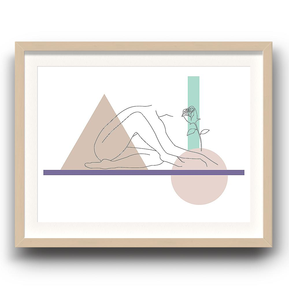 An abstract digital illustration print by Clarrie-Anne on eco fine art paper titled Growth showing a female line drawn smelling a flower surrounded by abstract shapes. The image is set in a beech coloured picture frame.