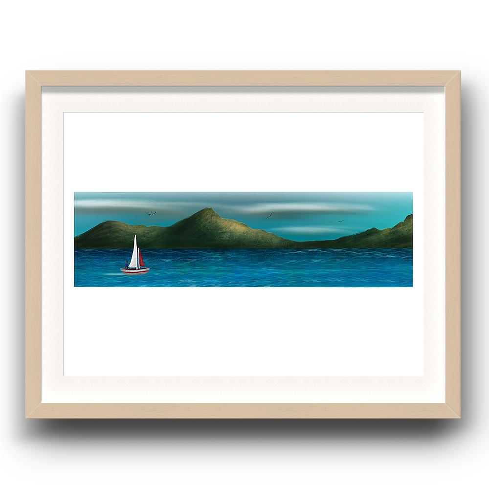 A digital painting by Lily Bourne printed on eco fine art paper titled Just Breath 1.1 showing a landshape view of a sail boat with one person sailing on open water with mountains behinds and birds flying above. The image is set in a beech coloured picture frame.
