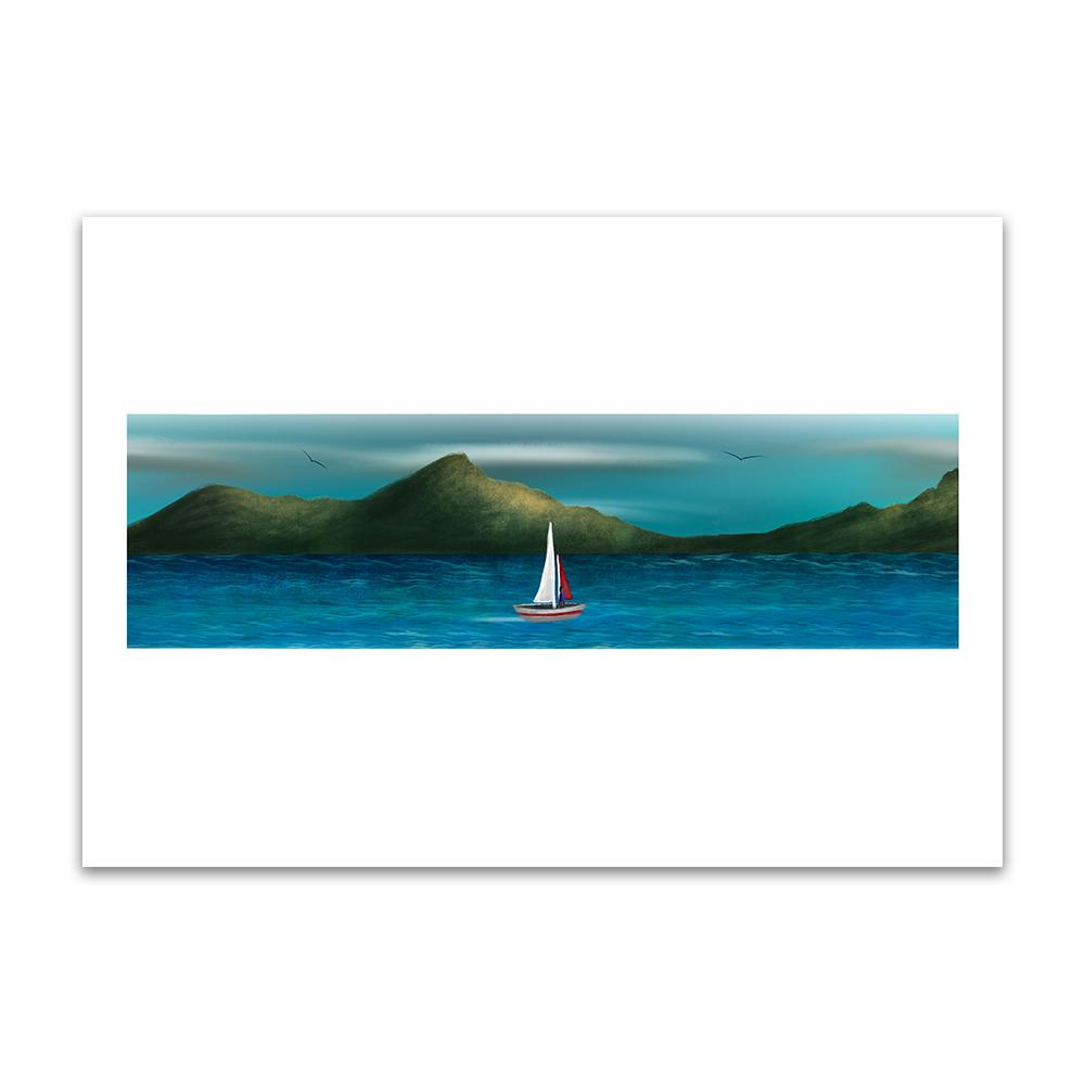 A digital painting by Lily Bourne printed on eco fine art paper titled Just Breath 1.2 showing a landshape view of a sail boat with one person sailing on open water with mountains behinds and birds flying above.