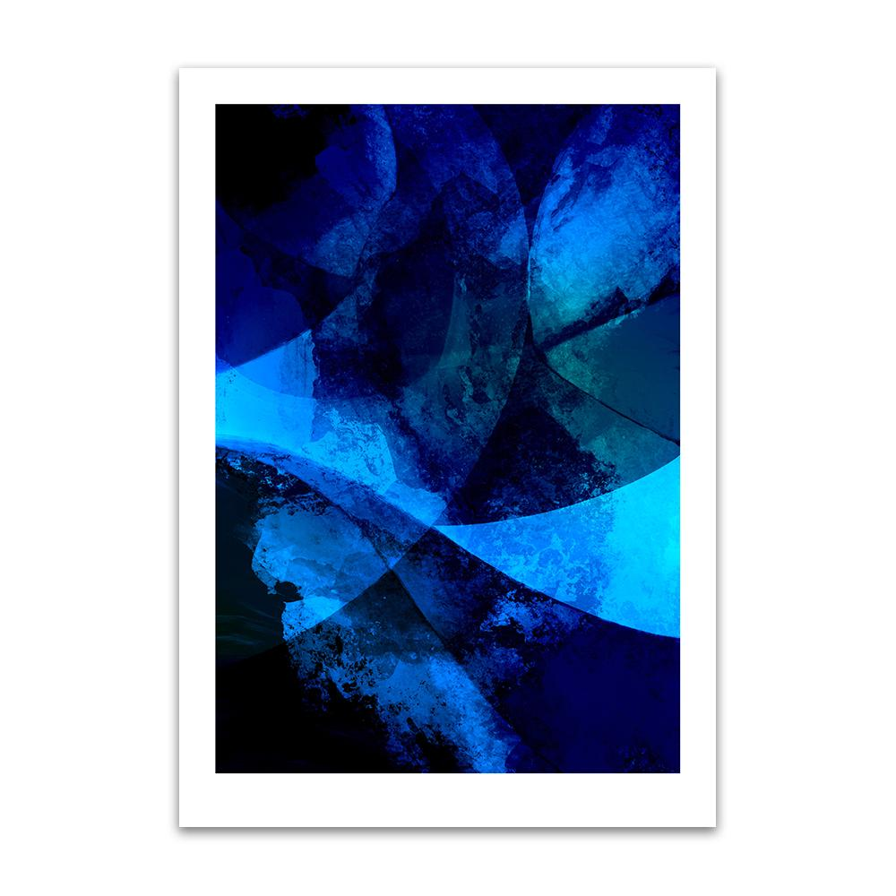 A digital painting by Lily Bourne printed on eco fine art paper titled Blue Passion From Within showing a series of curved lines and textures coloured shade of blue and black.